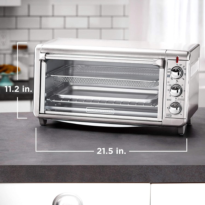 Black Amp Decker 8 Slice Stainless Steel Toaster Oven Air