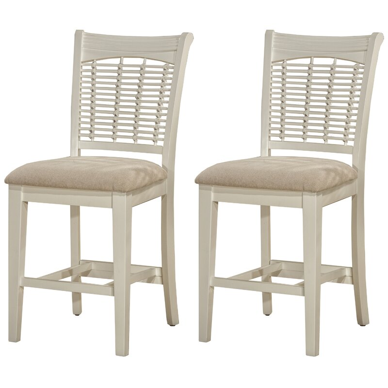 Bayberry 24 Inch White Bar Stool Fabric Wooden Legs
