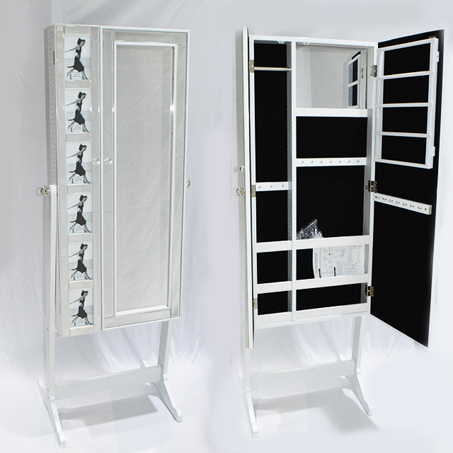 N003 White Standing Mirror Jewellery Cabinet Picture Insert Standard Distributors Limited